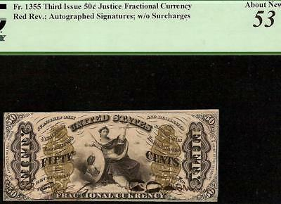 AU 50 CENT HAND SIGNED JUSTICE RED BACK FRACTIONAL CURRENCY NOTE Fr 1355 PCGS 53