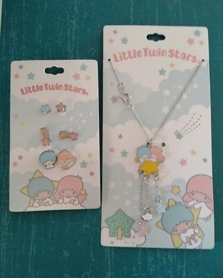 Sanrio Little Twin Stars Matching Earring and Necklace Set Unico Hello Kitty