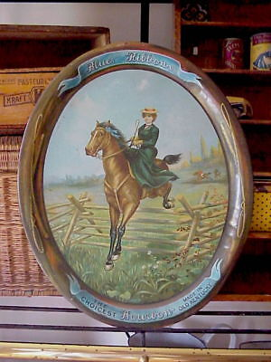 Vintage Pre Prohibition Blue Ribbon Bourbon Tray, Steeplechase Horse w/Female