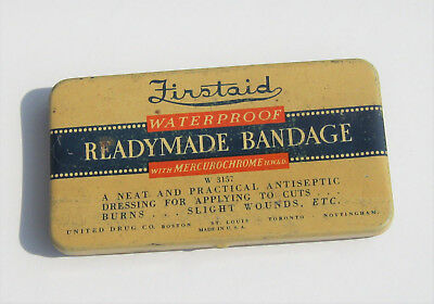 Vintage Firstaid Readymade Bandage Tin & Mercurochrome Bandages, 1940s First aid