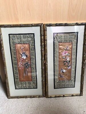 A pair of Chinese silk embroidery panels