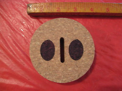 """Replacement Slotted Cork for Large Libbey Glass Pig Piggy Bank - 3 3/8"""" Opening"""