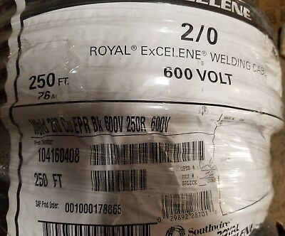 2/0 Royal ExCELENE WELDING BATTERY CABLE BLACK 600V EPR  30' ft 30 foot