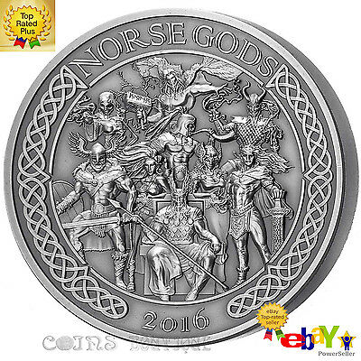 THE NORSE GODS 5 oz High Relief Antiqued Silver Coin Cook Islands 2016 Free Bee