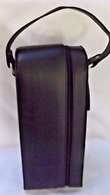 "Toppers Black heavy duty Faux Leather wine Bottle Carrier~13""x 5-3/4""x3-3/4"" nwt"