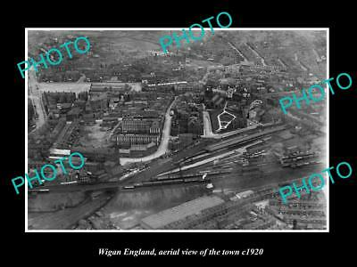OLD LARGE HISTORIC PHOTO OF WIGAN ENGLAND, AERIAL VIEW OF THE TOWN c1920 2