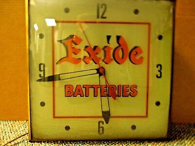 Vintage Original Exide Batteries Dealer Advertising Clock. Pam Clock Runs