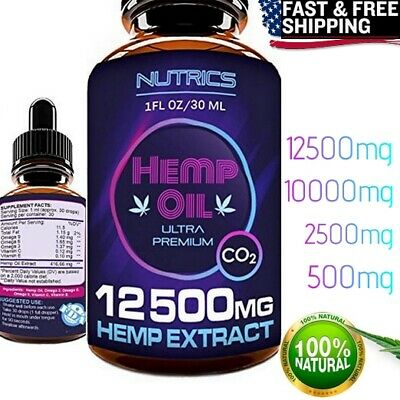 ORGANIC HEMP OIL Drops Joint Support Sleep Aid Pain Relief Reduce Stress 10000mg