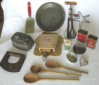 Lot Of Vintage Kitchen Items - Molds - Whisk Broom - Beater - Crock - Spices ++