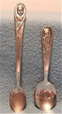 Lot 2 Vintage Gerber Winthrop Silver Plated Baby Spoons 1 Long & 1 Short One