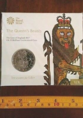 "2017 United Kingdom (UK) £5 BU Coin ""Queen's Beasts: The Lion of England"""