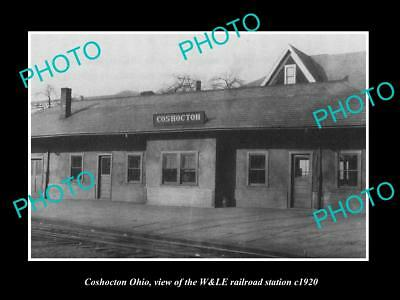 OLD LARGE HISTORIC PHOTO OF COSHOCTON OHIO, VIEW OF THE RAILROAD DEPOT c1920