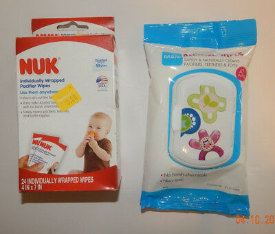Nuk And Mam Brand Pacifier On The Go Wipes--1 Package Of Each--New