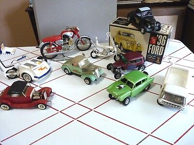 Great Junkyard Lot 1960's Models, AMT MPC, Motorcycles, Gassers, Hot Rods