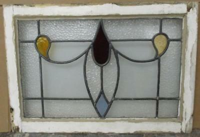MID SIZED OLD ENGLISH LEADED STAINED GLASS WINDOW Wonderful Abstract 25.75 x 18""