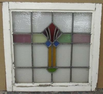 MIDSIZE OLD ENGLISH LEADED STAINED GLASS WINDOW Very Nice Abstract 23.25 x 22.25