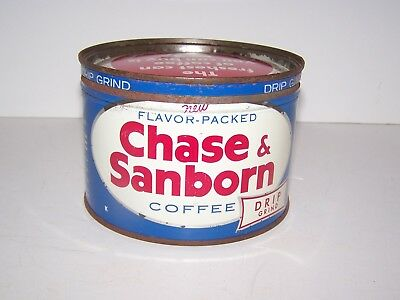 Vtg 1 Lb  Chase & Sanborn    Coffee Tin Regular / Drip Grind 1940's 1950's