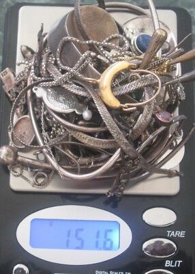 925 Sterling Silver Mixed Scrap Jewelry Lot 151.6 Grams