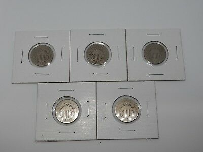 Lot of 5 U.S. 1868-1876 Shield Nickels - US Type Coin - Over 100 Years Old!