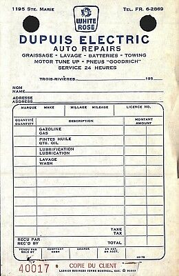 (2) 1950's Invoices Dupuis White Rose Auto Electric Repair Trois Rivieres Quebec