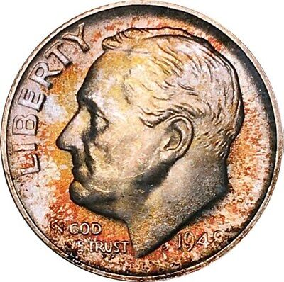 1948-S Roosevelt Dime PCGS MS67FB Colorful Toning