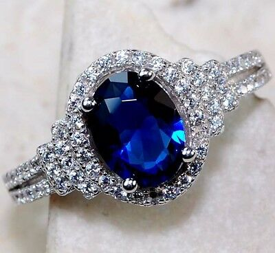 2CT Blue Sapphire & White Topaz 925 Solid Sterling Silver Ring Jewelry Sz 7