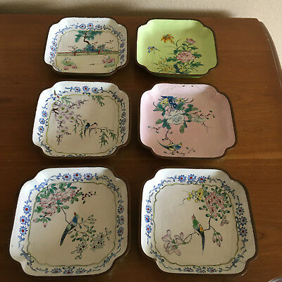 Six (6) Vintage China Scalloped Enamel on Copper Trinket Dishes Birds etc As Is