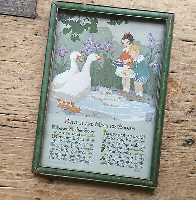 Signed ANTIQUE Art Deco MOTHER GOOSE LITHOGRAPH Print 1920s GERMANY VINTAGE Kay