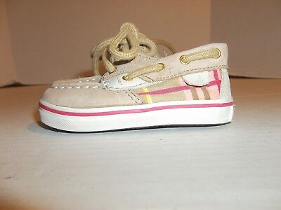 Baby/Toddler Girls Size 2M Sperry Top-Sider Brown w/ Plaid Boat Shoes