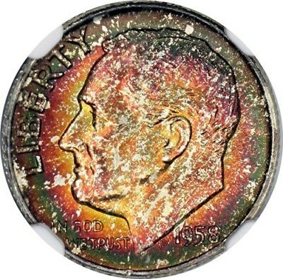 1958-D Roosevelt Dime NGC MS67*  Colorful Toning