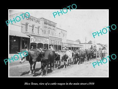 OLD LARGE HISTORIC PHOTO OF HICO TEXAS, CATTLE WAGON IN THE MAIN STRET c1910