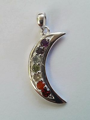 Chakra Moon pendant solid 925 sterling silver 7 genuine gemstones rrp$49.99