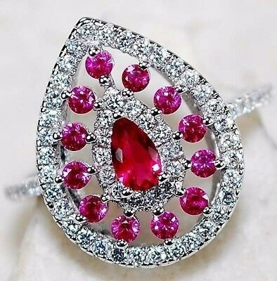 1CT Ruby & White Topaz 925 Solid Sterling Silver Ring  Jewelry Sz 7, T4-8