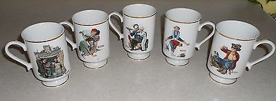 5 Norman Rockwell Mugs The Danbury Mint 1981