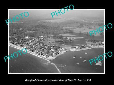 OLD LARGE HISTORIC PHOTO OF BRANFORD CONNECTICUT, AERIAL VIEW PINE ORCHARD c1938