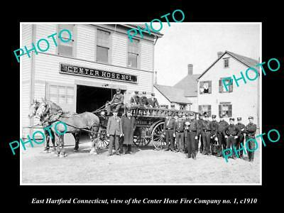 OLD LARGE HISTORIC PHOTO OF EAST HARTFORD CONNECTICUT, THE FIRE STATION c1910