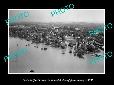OLD LARGE HISTORIC PHOTO OF EAST HARTFORD CONNECTICUT, TOWN AERIAL VIEW c1938 1