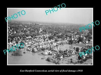 OLD LARGE HISTORIC PHOTO OF EAST HARTFORD CONNECTICUT, TOWN AERIAL VIEW c1938 2