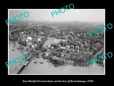 OLD LARGE HISTORIC PHOTO OF EAST HARTFORD CONNECTICUT, TOWN AERIAL VIEW c1938 3