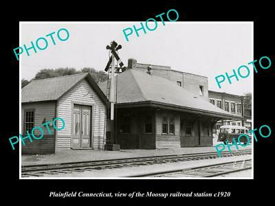 Old Large Historic Photo Of Plainfield Connecticut, Moosup Railroad Station 1920