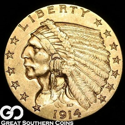 1914 Quarter Eagle, $2.5 Gold Indian, Brilliant Uncirculated ** Free Shipping!