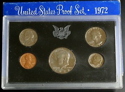 1972 S US Proof Set 5 Proof Coins Lincoln Cent - Kennedy Half Dollar