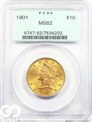1901 PCGS Eagle, $10 Gold Liberty PCGS MS 62 ** Old Green Holder