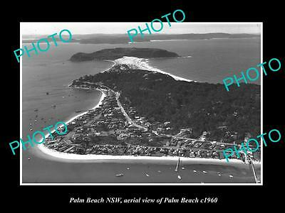 OLD LARGE HISTORIC PHOTO OF PALM BEACH NSW, AERIAL VIEW OF THE BEACH c1960