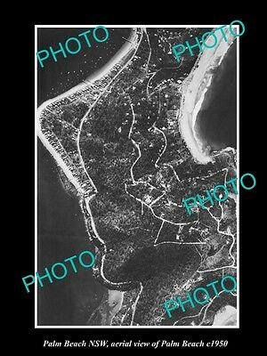 OLD LARGE HISTORIC PHOTO OF PALM BEACH NSW, AERIAL VIEW OF THE BEACH c1950