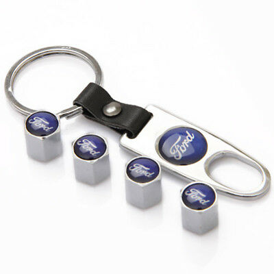 Car Decorations Tire Valve Dust Stems Air Caps Cover Emblem Keychain For Ford