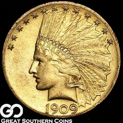 1909 Eagle, $10 Gold Indian ** Free Shipping!