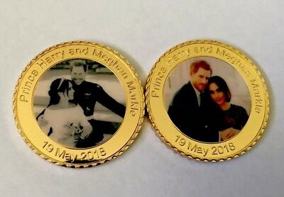 Prince Harry and Meghan Markle Wedding Souvenir Gold Plated Coin