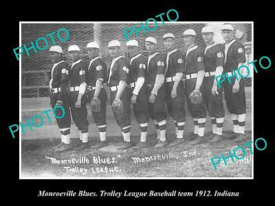 OLD LARGE HISTORIC PHOTO OF MONROEVILLE INDIANA, THE BLUES BASEBALL TEAM c1912