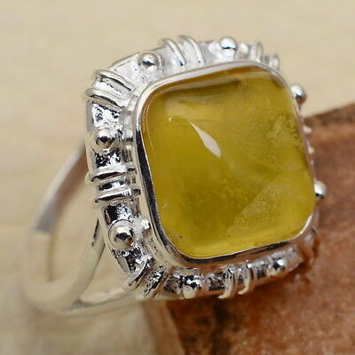 Sz 5.5 925 Silver Natural Yellow Chalcedony Square Ring